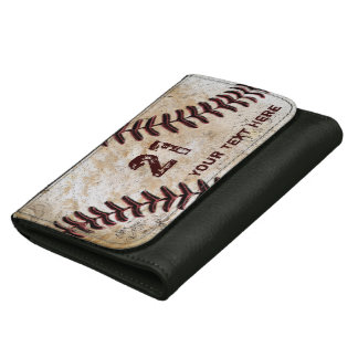 Personalized Baseball Leather Wallets NAME, NUMBER