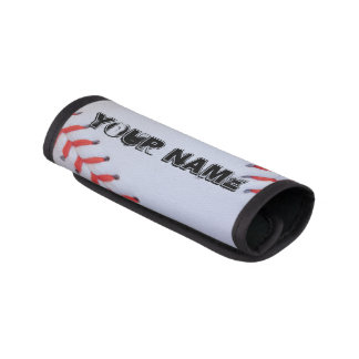 Personalized baseball luggage handle wrap
