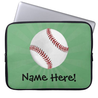 Personalized Baseball on Green Kids Boys Laptop Sleeve