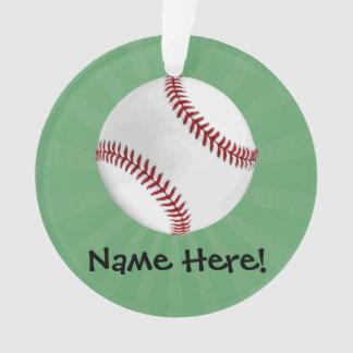 Personalized Baseball on Green Kids Boys Ornament