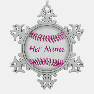 Personalized Baseball Ornaments with Her NAME