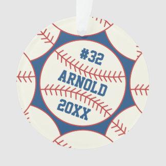 Personalized Baseball Pattern Blue Ornament