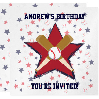 "Personalized  Baseball player Birthday party 5.25"" Square Invitation Card"