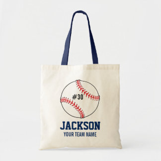 Personalized Baseball Player's Name Team Number Tote Bag