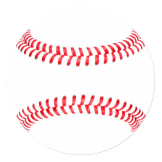 "Personalized Baseball Round Stationary Card 5.25"" Square Invitation Card"