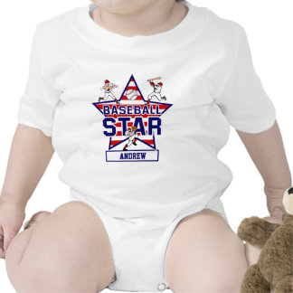 Personalized Baseball Star and stripes Bodysuits