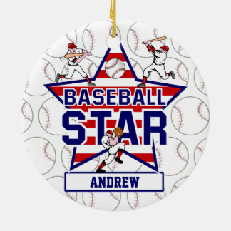 Personalized Baseball Star and stripes Ceramic Ornament