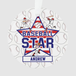 Personalized Baseball Star and stripes Ornament