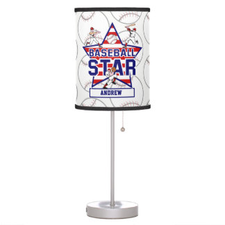 Personalized Baseball Star and stripes Table Lamp
