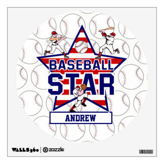 Personalized Baseball Star and stripes Wall Decal