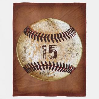 Personalized Baseball Throw Blanket, Your Number Fleece Blanket