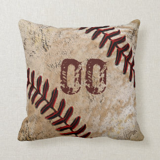 Personalized Baseball Throw Pillows JERSEY NUMBER
