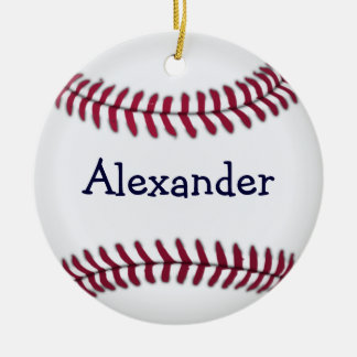 Personalized Baseball with Red Stitching Ceramic Ornament