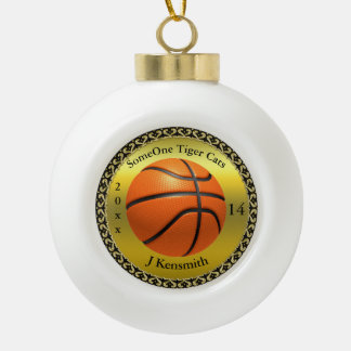 Personalized Basketball Champions League design Ceramic Ball Christmas Ornament