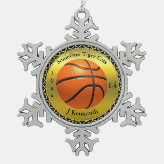 Personalized Basketball Champions League design Snowflake Pewter Christmas Ornament