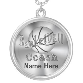 Personalized Basketball Coach Gifts for Women Silver Plated Necklace