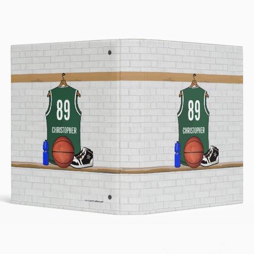 Personalized Basketball Jersey (green) Binders
