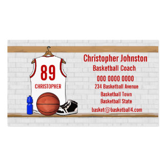 Personalized Basketball Jersey (white red) Business Card Templates