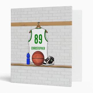 Personalized Basketball Jersey whitegreen Binder