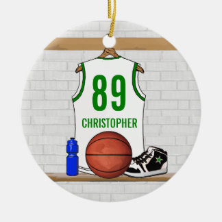 Personalized Basketball Jersey (whitegreen) Christmas Tree Ornament