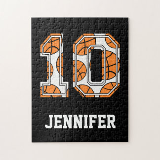 Personalized Basketball Number 10 Jigsaw Puzzle