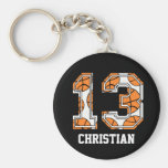 Personalized Basketball Number 13 Basic Round Button Keychain