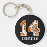 Personalized Basketball Number 14 Basic Round Button Keychain