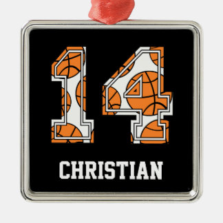 Personalized Basketball Number 14 Metal Ornament