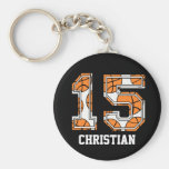 Personalized Basketball Number 15 Basic Round Button Keychain
