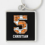 Personalized Basketball Number 5 Silver-Colored Square Keychain