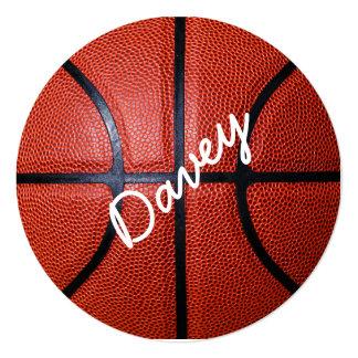 """Personalized Basketball Photo Design 5.25"""" Square Invitation Card"""