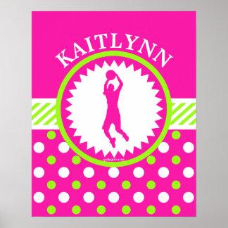 Personalized Basketball Pink - Green Polka-Dots Poster