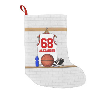 Personalized basketball shirt in locker room small christmas stocking