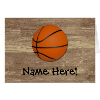 Personalized Basketball Wood Floor Card