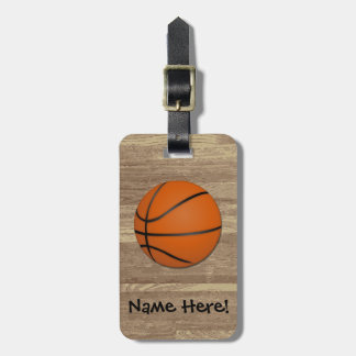 Personalized Basketball Wood Floor Luggage Tag