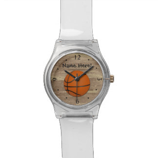Personalized Basketball Wood Floor Wrist Watches