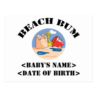 Personalized Beach Bum New Baby Gift Postcard