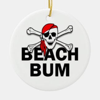 Personalized Beach Bum Skull Pirate Ornament