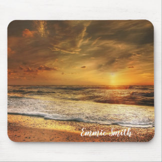 Personalized Beach Ocean Sunset Photo Mouse Pad