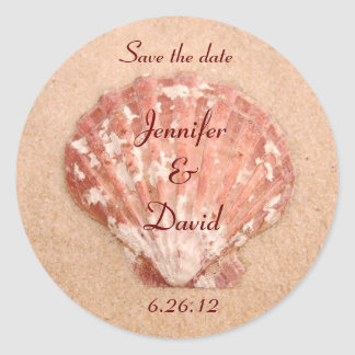 Personalized Beach Save the Date Envelope Seals Stickers