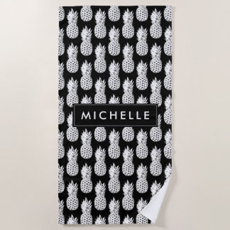 Personalized beach towel with pineapple pattern