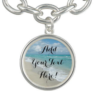 Personalized Beach Vacation Travel Tropical Ocean Charm Bracelet