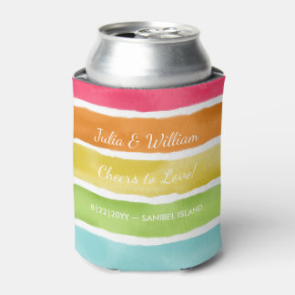 Personalized Beach Wedding Fun Colorful Striped Can Cooler