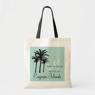 Personalized Beach Wedding Tote Bag Palm Trees