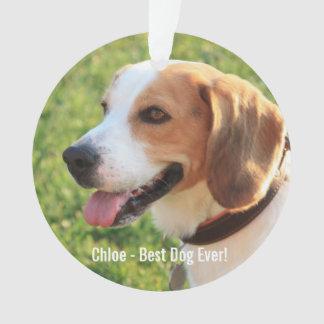 Personalized Beagle Dog Photo and Dog Name Ornament