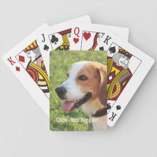 Personalized Beagle Dog Photo and Dog Name Playing Cards