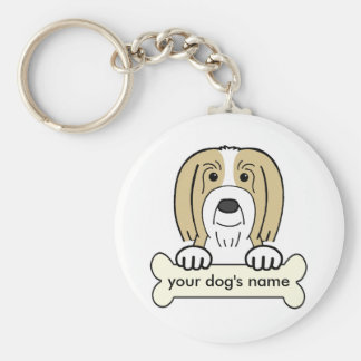 Personalized Bearded Collie Basic Round Button Keychain