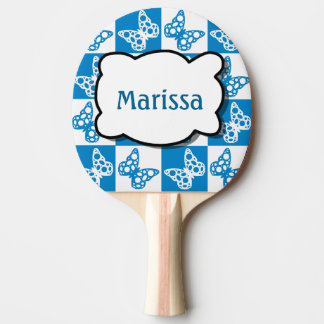 Personalized Beautiful Blue Butterfly Pattern Ping Pong Paddle