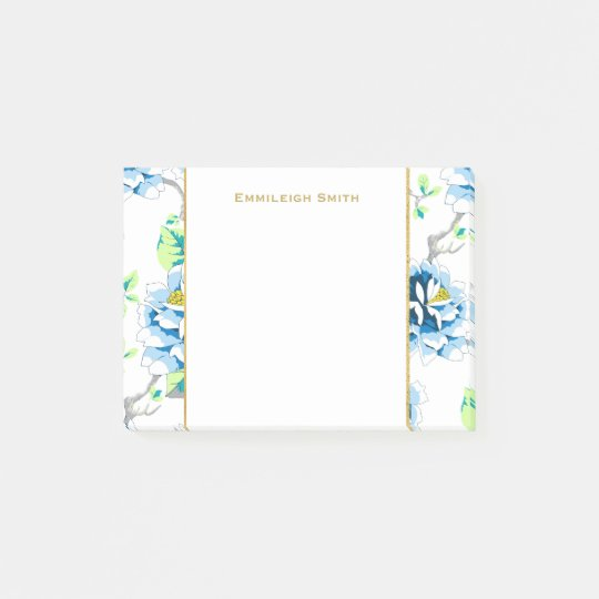 Personalized Beautiful Blue Floral on White Post-it Notes