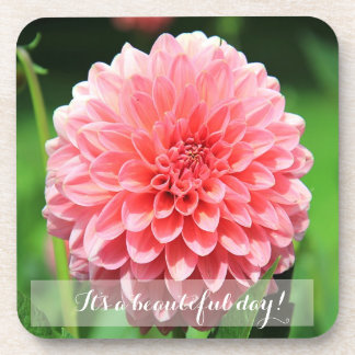 Personalized Beautiful Day Pink Dahlia Coaster